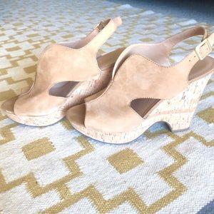 FRANCO SARTO • suede cork peep toe wedges